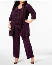 R & M Richards - Plus Size Embellished Lace Jacket, Top & Pants - Lyst