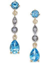 Macy's - Blue Topaz (2-1/3 Ct. T.w.) & Diamond Accent Drop Earrings In 14k Gold - Lyst