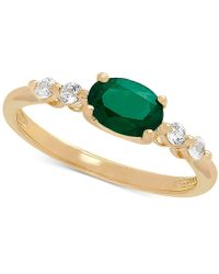 Macy's - Emerald (3/4 Ct. T.w.) & White Sapphire (1/5 Ct. T.w.) Ring In 10k Gold - Lyst