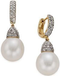 Macy's - Freshwater Pearl (11mm) And Diamond (3/4 Ct. T.w.) Drop Earrings In 14k Gold - Lyst