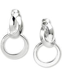 Anne Klein - Earrings, Silver-tone Twisted Hoop Clip On Earrings - Lyst