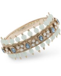 Marchesa - Crystal & Imitation Pearl Bangle Bracelet - Lyst