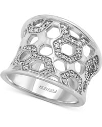 Effy Collection - Diamond Honeycomb Openwork Ring (1/4 Ct. T.w.) In Sterling Silver - Lyst