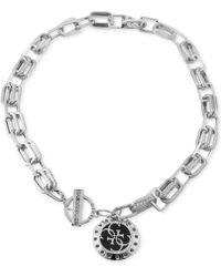 """Guess - Pavé Link & Charm 16"""" Pendant Necklace - Lyst"""