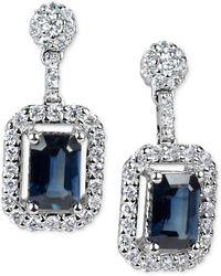 Macy's - Sapphire (1-3/8 Ct. T.w.) & Diamond (1/2 Ct. T.w.) Drop Earrings In 14k White Gold - Lyst
