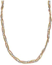 Macy's - Tri-color Bar And Bead Link Collar Necklace In 14k Yellow, White And Rose Gold - Lyst
