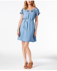 Style & Co. - Embroidered Fit & Flare Dress, Created For Macy's - Lyst