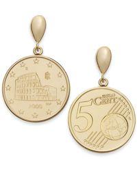 Macy's - Vermeil Engraved Euro Coin Drop Earrings - Lyst