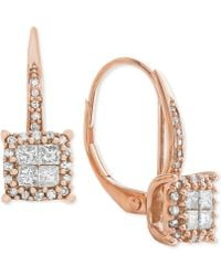 Macy's - Diamond Cluster Drop Earrings (1/2 Ct. T.w.) In 14k White Gold (also Available In 14k Rose Gold & 14k Yellow Gold) - Lyst