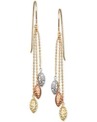 Macy's | Tri-color Beaded Chain Drop Earrings In 10k Yellow, White And Rose Gold | Lyst