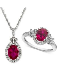 Macy's - Lab Created Ruby (2-1/2 Ct. T.w.) & White Sapphire (3/4 Ct. T.w.) Pendant Necklace & Ring In Sterling Silver - Lyst