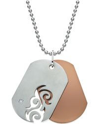 Macy's - Men's Diamond Accent Cutout Dog Tag Necklace In Stainless Steel - Lyst