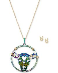"Betsey Johnson - Two-tone Multi-stone Taurus Zodiac Pendant Necklace & Stud Earrings Set, 21-1/2"" + 3"" Extender - Lyst"