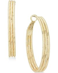 """Charter Club - Large Gold-tone Triple-row Textured Hoop Earrings, 1.6"""", Created For Macy's - Lyst"""