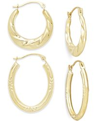 Macy's - Ribbed And Diamond-cut Hoop Earring Set In 10k Gold - Lyst