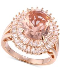 Macy's - Cubic Zirconia Simulated Morganite Baguette Cluster Ring In 14k Rose Gold-plated Sterling Silver - Lyst