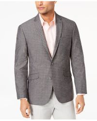 Kenneth Cole Reaction - Slim-fit Brown/gray Mini-windowpane Sport Coat, Online Only - Lyst