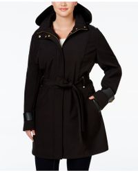Via Spiga - Plus Size Faux-leather-trim Hooded Water-repellent Raincoat - Lyst