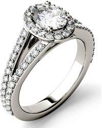 Charles & Colvard - Moissanite Split Shank Oval Halo Ring (1-1/2 Ct. Tw. Diamond Equivalent) In 14k White Gold - Lyst