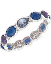 Nine West - Silver-tone Blue Stone Stretch Bracelet - Lyst