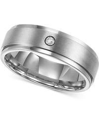Triton | Men's Titanium Ring, 7mm Diamond Accent Wedding Band | Lyst