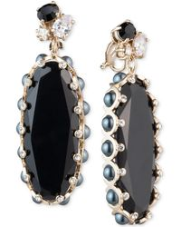 Carolee - Gold-tone Crystal & Stone Clip-on Drop Earrings - Lyst