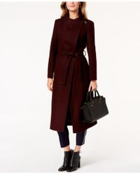 Kenneth Cole - Petite Asymmetrical Belted Maxi Coat - Lyst