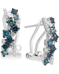 Effy Collection - Effy® Shades Of Bleu Diamond Drop Earrings (1 Ct. T.w.) In 14k White Gold - Lyst