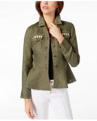 042a013696180 INC International Concepts - I.n.c. Linen Embroidered Peplum Jacket