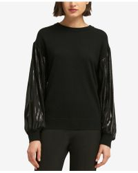 DKNY - Metallic-sleeve Sweater, Created For Macy's - Lyst