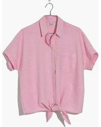 Madewell - Short-sleeve Tie-front Top In Paris Pink - Lyst