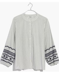 Madewell - Striped Embroidered-sleeve Shirt - Lyst