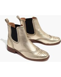Madewell - The Ivan Brogue Chelsea Boot In Metallic - Lyst