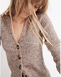 Madewell Marled Shrunken Ribbed Cardigan Sweater - Multicolour