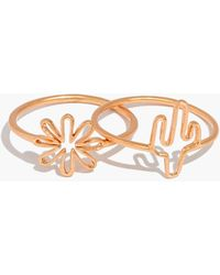Madewell - Flower And Cactus Ring Set - Lyst