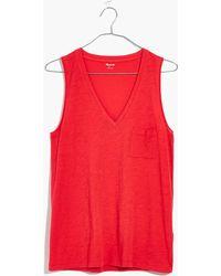 Madewell - Whisper Cotton V-neck Pocket Tank - Lyst