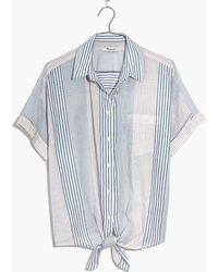 Madewell - Short-sleeve Tie-front Shirt In Rawley Stripe - Lyst