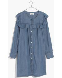 Madewell - Chambray Ruffle-yoke Shirtdress - Lyst