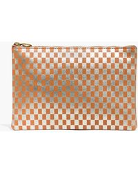 Madewell - The Leather Pouch Clutch In Metallic Checkerboard - Lyst
