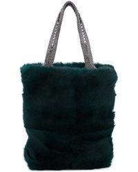 Laura B - Dark Green Rabbit Fur Soft Small Shopper Tote - Lyst