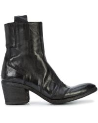 Fauzian Jeunesse - Black Leather Stitched Almond Toe Ankle Boot - Lyst