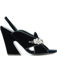 Mulberry - Dark Blue Velvet Embellished Leather Sandal - Lyst