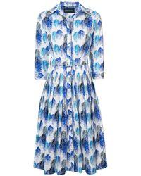 Samantha Sung - Cobalt Audrey#2 Midi Buttoned Dress - Lyst