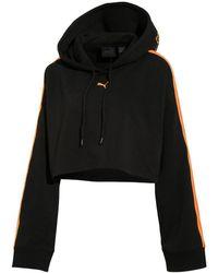 PUMA - Black Hooded Ls Crop Sweatshirt - Lyst