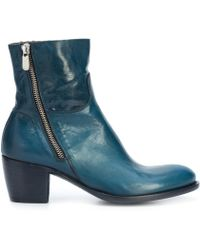 Rocco P - Navy Mid Heel Ankle Boot - Lyst