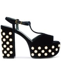 Mulberry - Navy Leather And Velvet Embellished Platform Sandals - Lyst