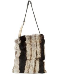Laura B - Multicoloured Rabbit Fur Soft Horn Pleated Bag - Lyst