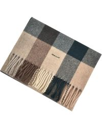 GANT - Lambswool Checked Scarf Brown - Lyst