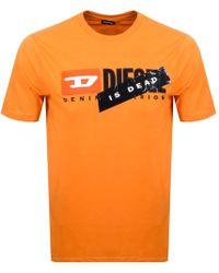 DIESEL - Haute Couture Logo T Shirt Orange - Lyst