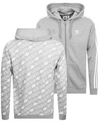 adidas Originals - Monogram Full Zip Hoodie Grey - Lyst
